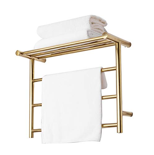 Towel Radiator,Electric Straight Towel Rail, Towel Rack Wall Mounted Gold Heated Towel Rail Warmer Mirror Polished Finish Energy Efficient 3 Tier Electric Heated Clothes Laundry Towel Airer Dryer