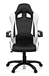 hjh Office 621836 Gaming PC chair RAYCER PRO I synthetic leather black white, fixed upholstery, ideal for gaming, executive chair, armrests, office chair 120 kg, XXL executive chair, gamer chair