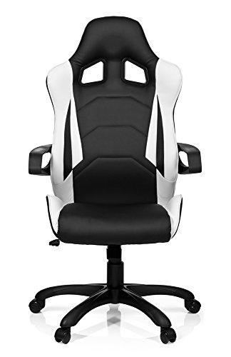 hjh OFFICE 621836 Gaming PC Stuhl RACER PRO I Kunstleder schwarz weiß, feste Polsterung, ideal zum Zocken, Chefsessel, feste Armlehnen, Bürostuhl Sessel, Racer 120Kg, XXL Chefsessel, Gamer Stuhl