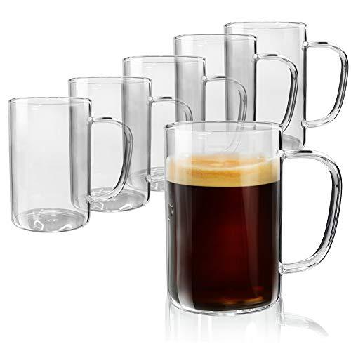 Amazon Brand - Umi Tazas Café de Vidrio, 300 ml, Set de 6, Vasos Cristal Transparente de Agua, Apto para Capuchino, Té, Leche, Zumo