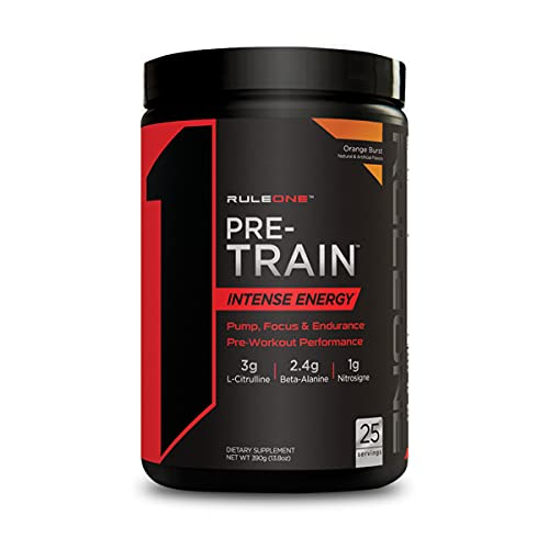 Rule One Proteins, R1 Pre-Train – Orange Burst, High-Intensity Pre-Workout, Performance Blend, Energy, Focus, Endurance, Pump Support, 275mg Caffeine, 25 Servings