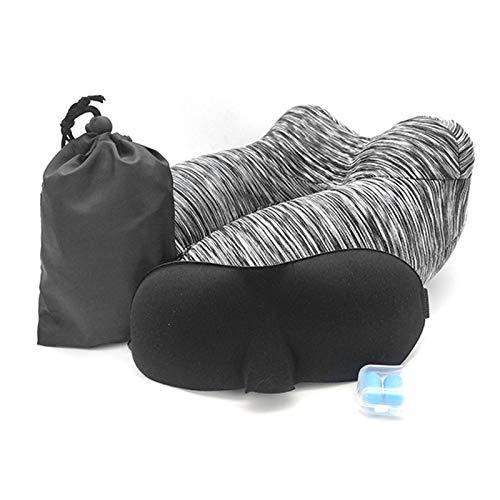 FAMKIT Almohada de viaje hinchable para dormir, cojín de apoyo con tapones para los oídos, bolsa de almacenamiento para coche o avión