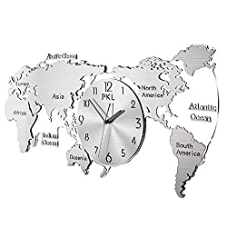 Wall Clock,Mute 304 Stainless Steel World Map Clock Metal Clock,Wall-Mounted Stereoscopic Hollow Modern Large Wall Decoration Pocket Watch Antirust/Silver / 340x700mm