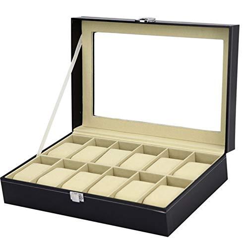 Caja de almacenamiento de 10 rejillas de madera negra de lujo para relojes de joyería, organizador para anillos y pulseras
