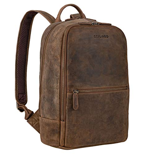 STILORD 'Kelly' Vintage Lederrucksack Groß für Business Schule Uni Moderner Laptop Rucksack 15 Zoll Messenger Rucksack DIN A4 Echtes Leder, Farbe:mittel - braun