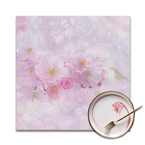 Set von 4 Tischsets für Esstisch Kirschblüte Kirschbaum Naturblume Pflanze Esstisch Matte Fleckenresistent Waschbare Tischsets für Innen- oder Außenhotel Familienbankett Tischsets Stoff