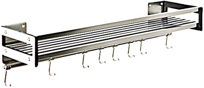 WENZHE Küchenregal Küche Wandregal Ablage Regal Gewürzregal Bad Balkon Buchstabieren, Nagelfreier Kleber Punch, Edelstahl, 6 Gren (Farbe   Silber, gre   80x15x11cm)
