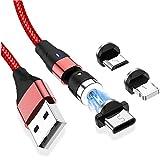 Cable de carga magnético 3 en 1 0.5M/1M/2M Cargador magnético múltiple 360 ° + 180 ° Cable de carga giratorio Nylon trenzado 2.4A Cable de imán rápido USB compatible con micro USB,USB Type C,Phone
