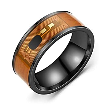 Tennessee526 NFC Stainless Steel Phone Chip Dripping Oil Dual Dragon Pattern Smart Ring Gift - Black Ring US 10