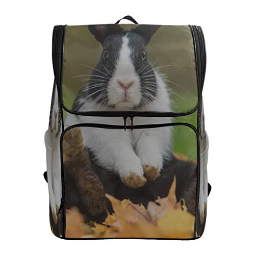 Little Funny Rabbit Sitting In Leaves Travel Bags Casual Hand Bag For Women Sports Lunch Bag College Bags Women Fits 15.6 Inch Laptop And Notebook Man Travel Bag Best Bookbag