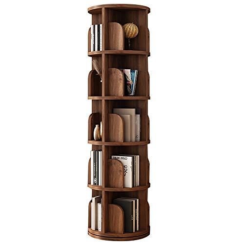LJFYXZ Estanterías Librerias Librería giratoria de 360 ° Estante Multicapa Redondo de Madera Maciza Ahorra Espacio Dormitorio Sala de Estar (Color : Walnut, Size : 162.5cm)