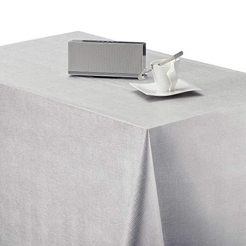 KP Home Hules para Mesas Rectangular Gris de PVC Fácil de Limpiar - 200 x 140 cm - Mantel Plastico Mesa de Vinilo Plastificado Fácilmente Limpiable