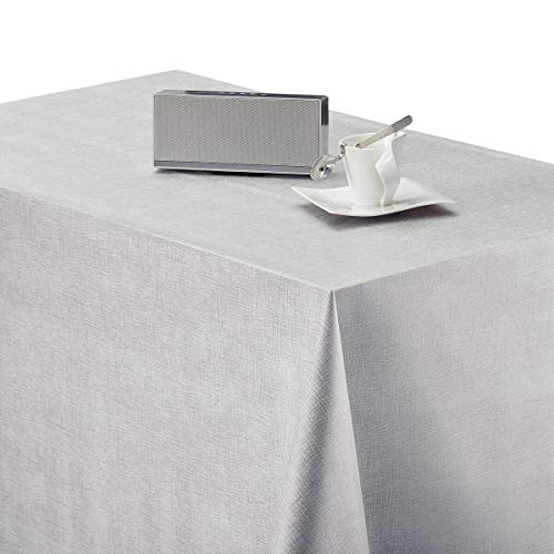 Hules Para Mesas Rectangular Gris de PVC Fácil de Limpiar - 200 x 140 cm - Mantel Plastico Mesa de Vinilo Plastificado Fácilmente Limpiable