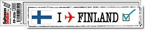 FP-036 フットプリント ステッカー/フィンランド(FINLAND) スーツケースステッカー 機材ケースにも! (白)