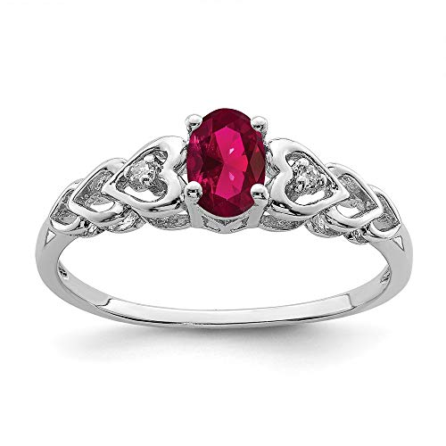 925 Sterling Silver Created Red Ruby Diamond Band Ring Size 9.00 Birthstone July Gemstone Fine Jewellery For Women Gifts For Her