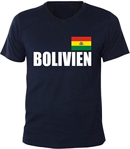 Mister Merchandise Herren V-Ausschnitt T-Shirt Bolivien Fahne Flag, V-Neck, Größe: XL, Farbe: Navy