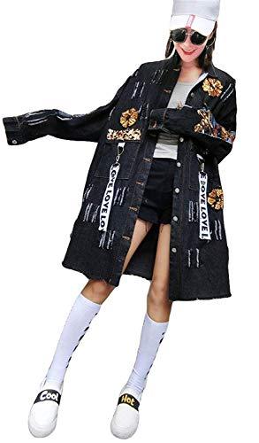 Jeansjacke Damen Lang Vintage Fashion Pailletten Zerissene Löcher Classic Jeansmantel Elegante Langarm Revers Loose Freizeit Frühling Herbst Denim Jacket Outerwear Kleidung