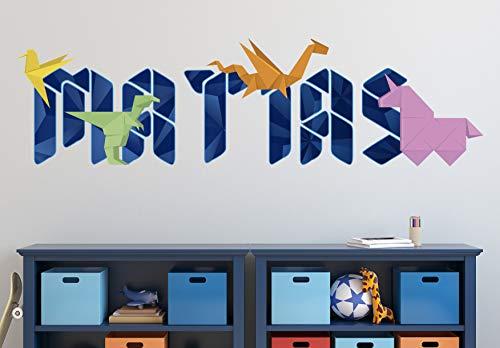 """Origami- Papel de Color- Dragon de Papel- Figuras de Papel-Papiroflexia-Calcomanías de Vinilo Personalizadas con Nombre Pegatinas de Letras Calcomanías de Pared KA482 (Gigante (ancho 50 """"x 14"""" alto))"""