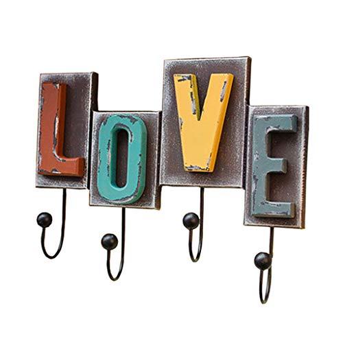 heilonglu Ganchos de metal multicolor con acabado rústico, 4 ganchos de metal, para colgar en la pared, para el hogar, la cocina, el baño