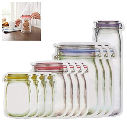 Jar Shape Zipper Bag, Mode Einmachglas Form Doppelter Dichtungsentwurf Aufbewahrungsbeutel von Snacks, Nüssen, Früchten, Keksen oder Sandwiches für Ausflüge Küche