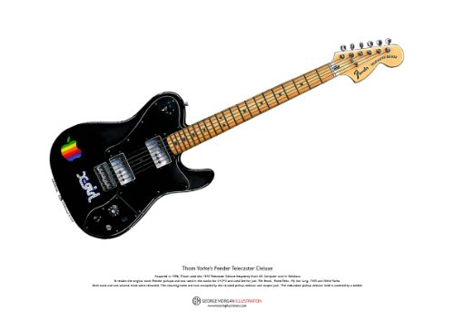 George Morgan Illustration Art Cartel de 1972 Telecaster Deluxe Guitarra de Thom Yorke, tamaño A3