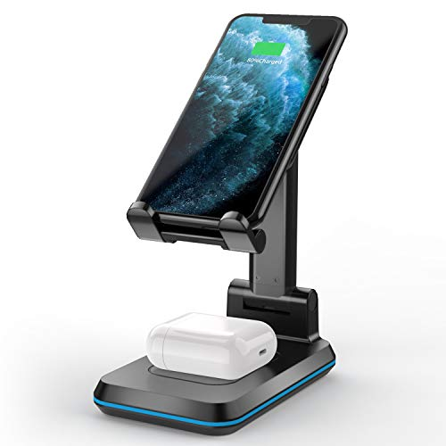 SHSTFD Wireless Charger, Phone Stand 2 in 1 Dual Wireless Charging, Adjustable Phone Holder 10 W Max QI Fast Charger for iPhone 11/Pro/ES/MAX/XS/XR/X/8, AirPods/Pro, Samsung Galaxy S20/S10/S9/S8/S7