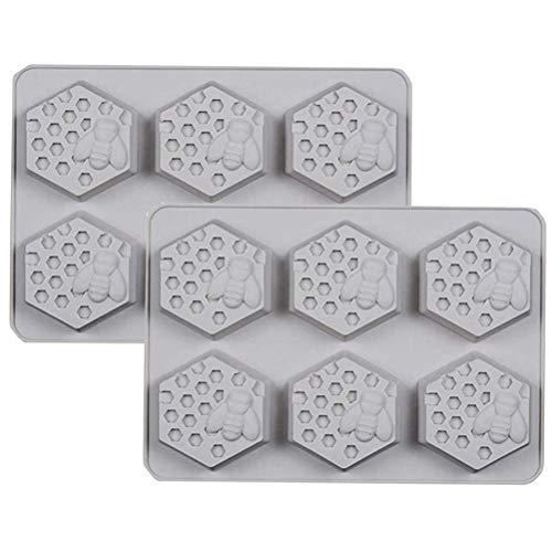 Molde de silicona 3D de panal de abeja, de silicona, para cubitos de hielo, reutilizables, hecho a mano, para decorar tartas, galletas, azúcar, manualidades, 2 unidades
