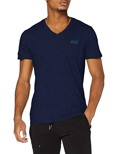 Superdry OL Classic Vee Tee T-Shirt, Midnight Oasis Blue Grit, S Homme