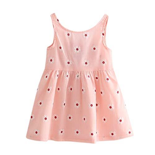 Moneycom❤ Ropa de bebé niña niña, diseño floral sin mangas, vestido de princesa, vestido de tul chic, ceremonia, boda, rosa, sandía roja rosa 18-24 Meses