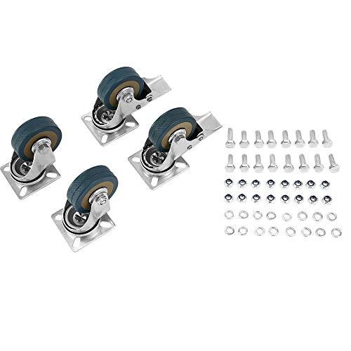 4 Stück Hochleistungs-Lenkrolle 2 Zoll 50 mm 200 kg Transportrollrad Universal-Abschlepprollen mit Bremsen (Silber & Grau)