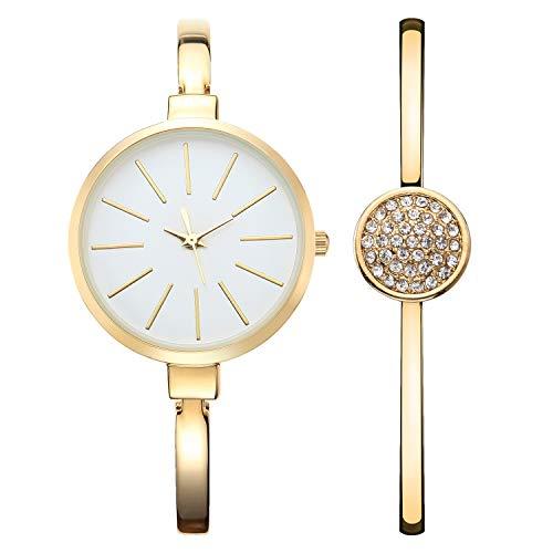 NUOVO Damenuhr Schmuck Set Damen Armbanduhr mit Kristall- und Diamantarmband 3ATM wasserdichte, Elegante, minimalistische, analoge Quarzuhren mit goldenem Edelstahlarmband