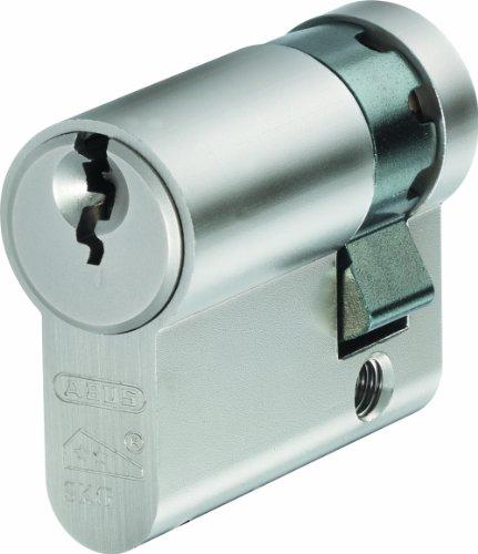 ABUS E60N1040 - Medio cilindro antitaladro para cerradura (acero con acabado niquelado, perfil europeo)