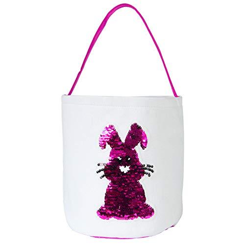Hniunew Ostertasche Kinder Kreatives Kaninchen Hasenohren SüßIgkeitentasche GeschenktüTen Blumentasche Einkaufstasche Donuts Kekstasche Party Festival Osterkorb Osternest Deko