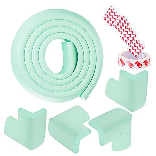 Protector de esquina para proteger los bordes de los parachoques, seguridad para niños, anticolisión, protector de mesa, diseño de rayas (cian)