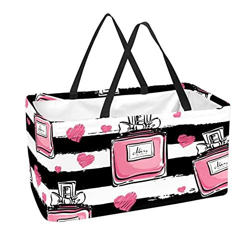 Bolsa de supermercado reutilizable Contenedores de almacenamiento grandes de 50L Cesta de compras Bolsas de asas Patrón de rayas de perfume rosa