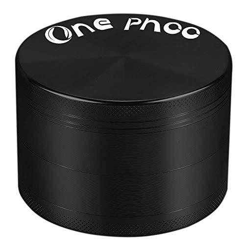 Onephoo Molinillo de hierbas, 4 piezas, molinillo de especias, 2.5 pulgadas, gran capacidad con botella de polen (negro)
