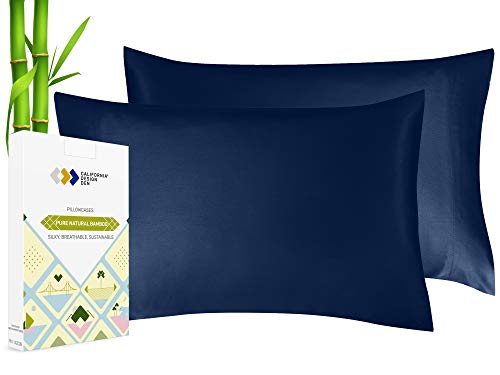 Silky Smooth and Soft Cases for Hair & Skin, Fabric from 100% Bamboo, Set of 2 Cooling Bamboo Pillow Cover Fits Standard & Queen Pillows, Rayon (Navy Blue)