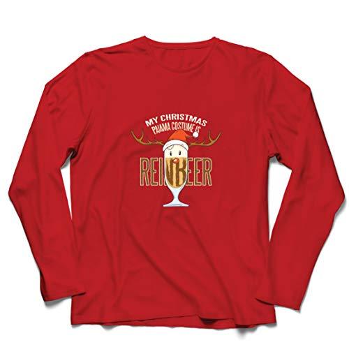 lepni.me Camiseta de Manga Larga para Hombre Reinbeer Disfraz de Pijama de Navidad, Regalos para Amantes de la Cerveza (Medium Rojo Multicolor)