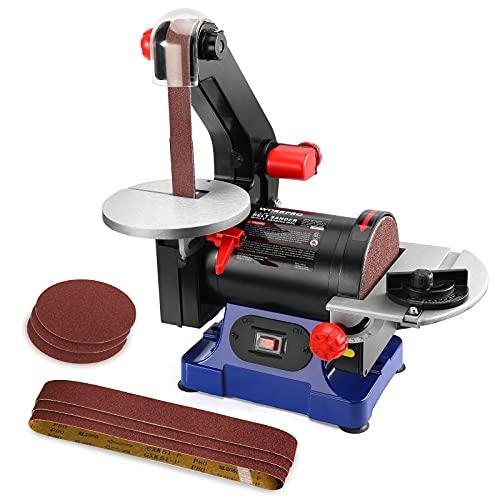 WORKPRO Disc Belt Sander, 1 in. x 30 in. Belt & 5 in. Sanding Disc, Power Combination Sander for Woodworking, including 6pcs Sandpapers