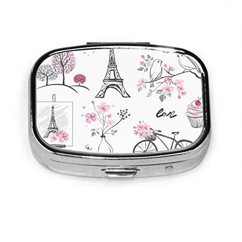 Paris Französisch Romantische Liebespillen Box Fall Frauen Pille Fall Tablet Halter Wallet Organizer Fall Für Tasche Oder Geldbörse