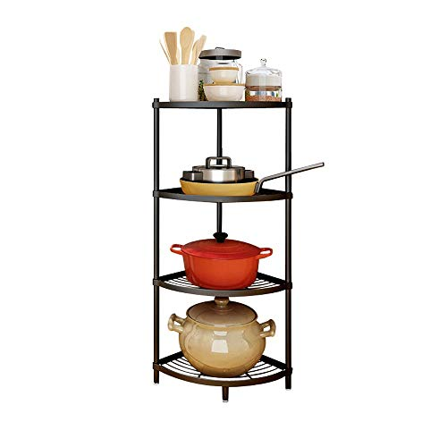 4-Tier Kitchen Corner Shelf Rack Multi-Layer Pot Rack Storage Organizer Stainless Steel Shelves Shelf Holder