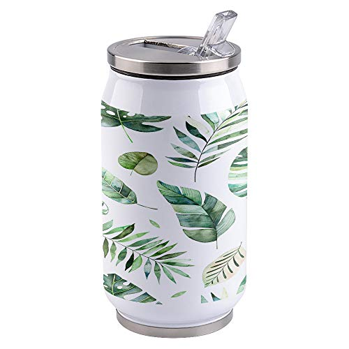 Water Bottle | Vacuum Insulated Stainless Steel Water Bottle 15oz | Waterlcolor Tropical Forest Leaves | Double Walled Water Bottles | Wide Mouth with Straw Lid | Leak Proof Flip-Top