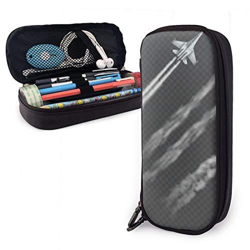 Estuche multifuncional de piel para lápices de avión y militar con cremallera