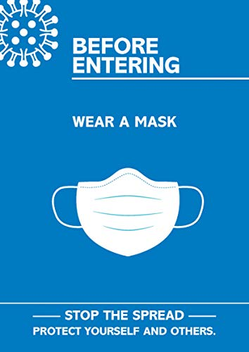 SECO Coronavirus Essential Poster -'Prima di entrare in indossare la maschera', A3, blu e bianco