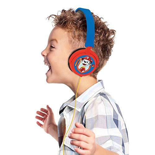 Patrulla Canina Cascos estéreo con Chase y Marshall, Auriculares con Diadema Ajustable y Plegable (Lexibook HP015PA) Paw Patrol, Potencia Apta para niños, Azul/Rojo, Color