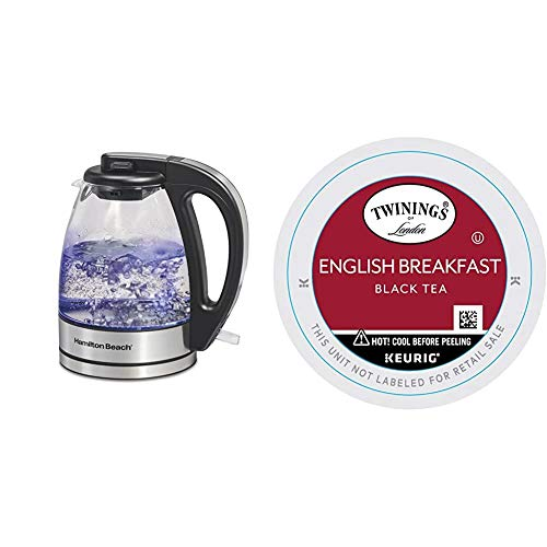 Hamilton Beach Glass Electric Tea Kettle, Water Boiler & Heater, 1 L, Cordless, Auto-Shutoff & Boil-Dry Protection, Clear & Twinings of London English Breakfast Tea K-Cups for Keurig, 24 Count