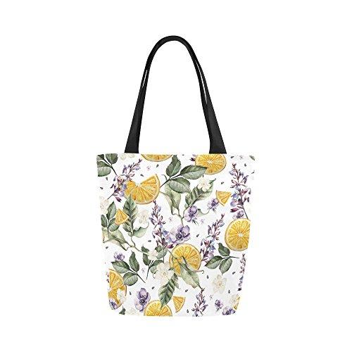 Lemon Lavender Flowers Canvas Tote Bag Handbag Purse for Women