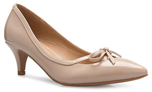 Olivia K D'Orsay Damen Pumps mit geschlossenem Zehenbereich, Schleife, Kitten-Heels, für Kleid, Arbeit, Party, mittelhoher Absatz, Beige (Beigefarbenes Lack.), 37.5 EU