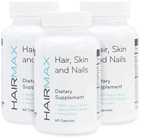 HairMax Hair, Skin & Nails Dietary Supplement for Women & Men. Promotes hair/skin/nail health. 2500mcg Biotin, Niacin, Folic Acid, Hyaluronic Acid, DHT Blockers, MSM, Antioxidants. Pack of 3 Bottles.