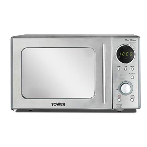 41GWP7zImKL. SS500  - Tower KOR3000DSLT Digital Microwave with Dual Wave, Stainless Steel, 2-Plate, 800 W, 20 Litre, Silver